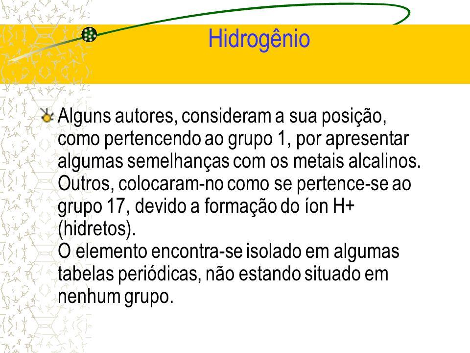 Hidrogênio Alguns autores, consideram a sua posição, como pertencendo ao grupo 1, por apresentar algumas semelhanças com os metais alcalinos. Outros,