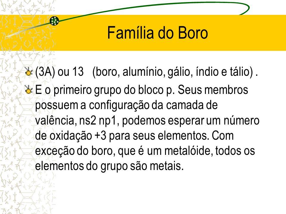 Família do Boro (3A) ou 13 (boro, alumínio, gálio, índio e tálio). E o primeiro grupo do bloco p. Seus membros possuem a configuração da camada de val