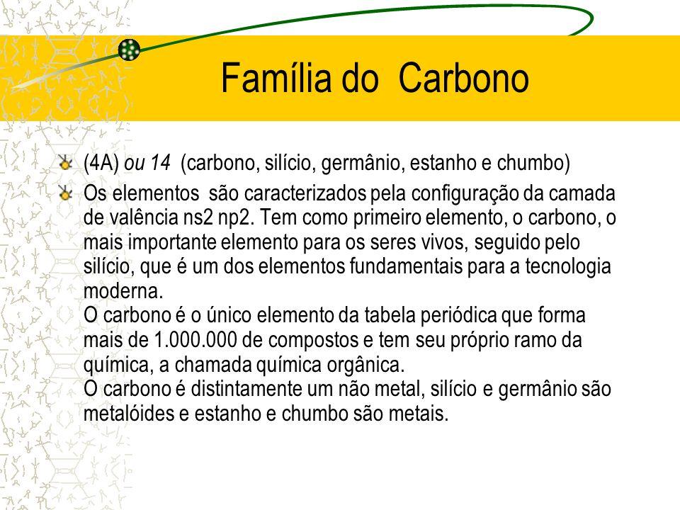 Família do Carbono (4A) ou 14 (carbono, silício, germânio, estanho e chumbo) Os elementos são caracterizados pela configuração da camada de valência n