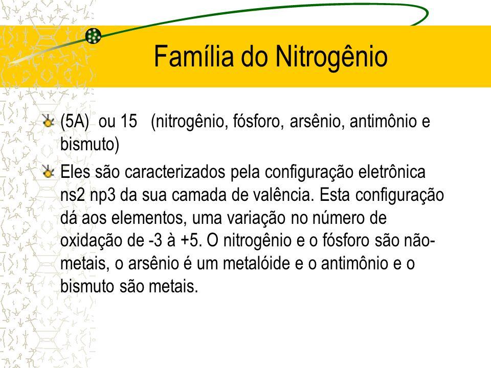 Família do Nitrogênio (5A) ou 15 (nitrogênio, fósforo, arsênio, antimônio e bismuto) Eles são caracterizados pela configuração eletrônica ns2 np3 da s