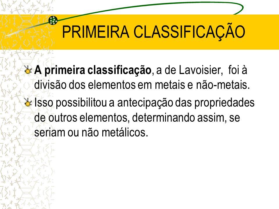 PRIMEIRA CLASSIFICAÇÃO A primeira classificação, a de Lavoisier, foi à divisão dos elementos em metais e não-metais. Isso possibilitou a antecipação d