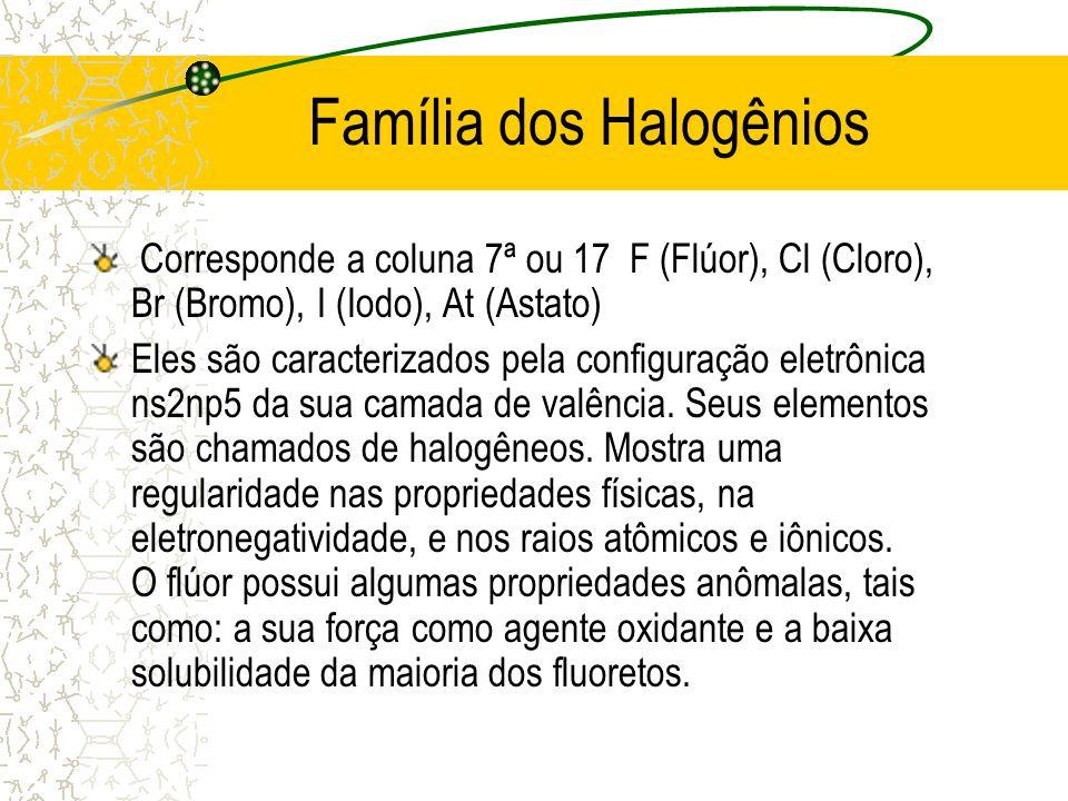 Família dos Halogênios Corresponde a coluna 7ª ou 17 F (Flúor), Cl (Cloro), Br (Bromo), I (Iodo), At (Astato) Eles são caracterizados pela configuraçã