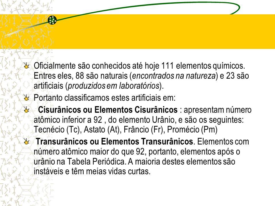 Oficialmente são conhecidos até hoje 111 elementos químicos. Entres eles, 88 são naturais ( encontrados na natureza ) e 23 são artificiais ( produzido