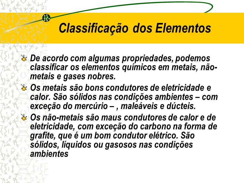 Classificação dos Elementos De acordo com algumas propriedades, podemos classificar os elementos químicos em metais, não- metais e gases nobres. Os me