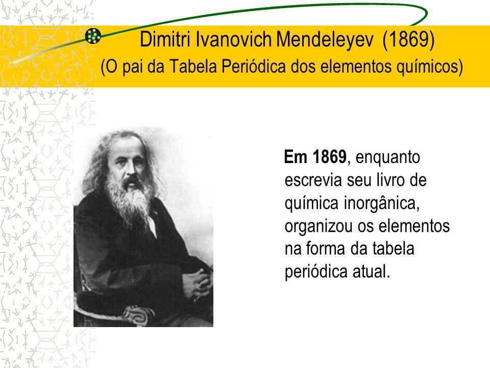 Dimitri Ivanovich Mendeleyev (1869) (O pai da Tabela Periódica dos elementos químicos) Em 1869, enquanto escrevia seu livro de química inorgânica, org