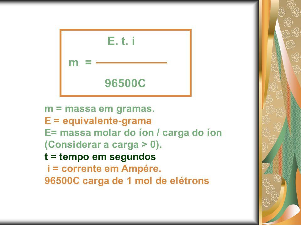 m = massa em gramas. E = equivalente-grama E= massa molar do íon / carga do íon (Considerar a carga > 0). t = tempo em segundos i = corrente em Ampére