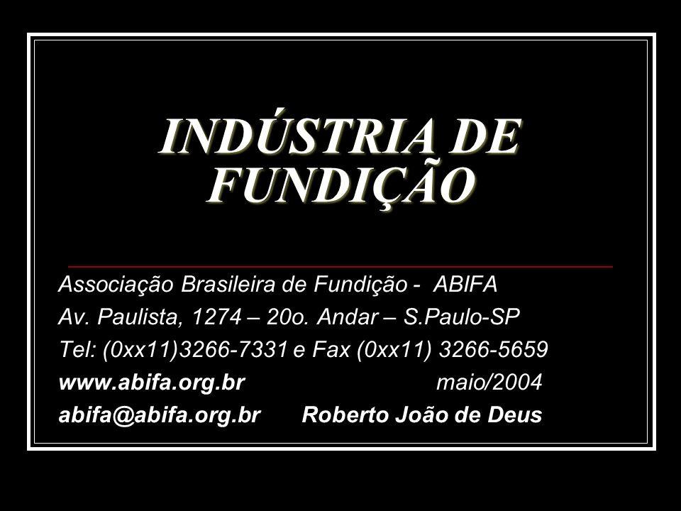 INDÚSTRIA DE FUNDIÇÃO Associação Brasileira de Fundição - ABIFA Av. Paulista, 1274 – 20o. Andar – S.Paulo-SP Tel: (0xx11)3266-7331 e Fax (0xx11) 3266-