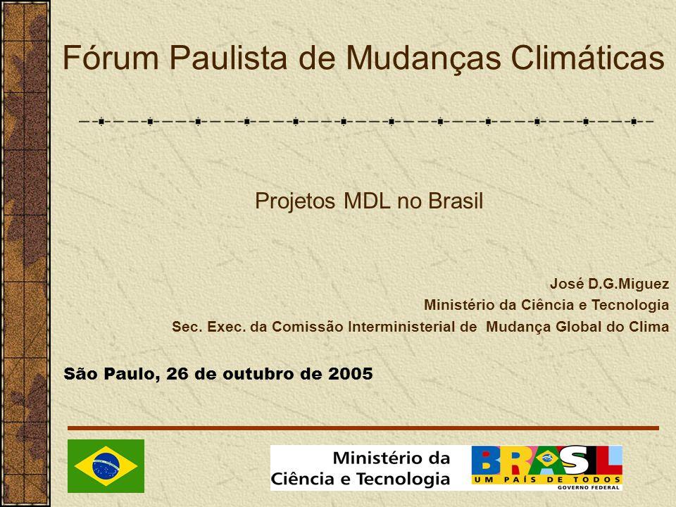 Fórum Paulista de Mudanças Climáticas José D.G.Miguez Ministério da Ciência e Tecnologia Sec.