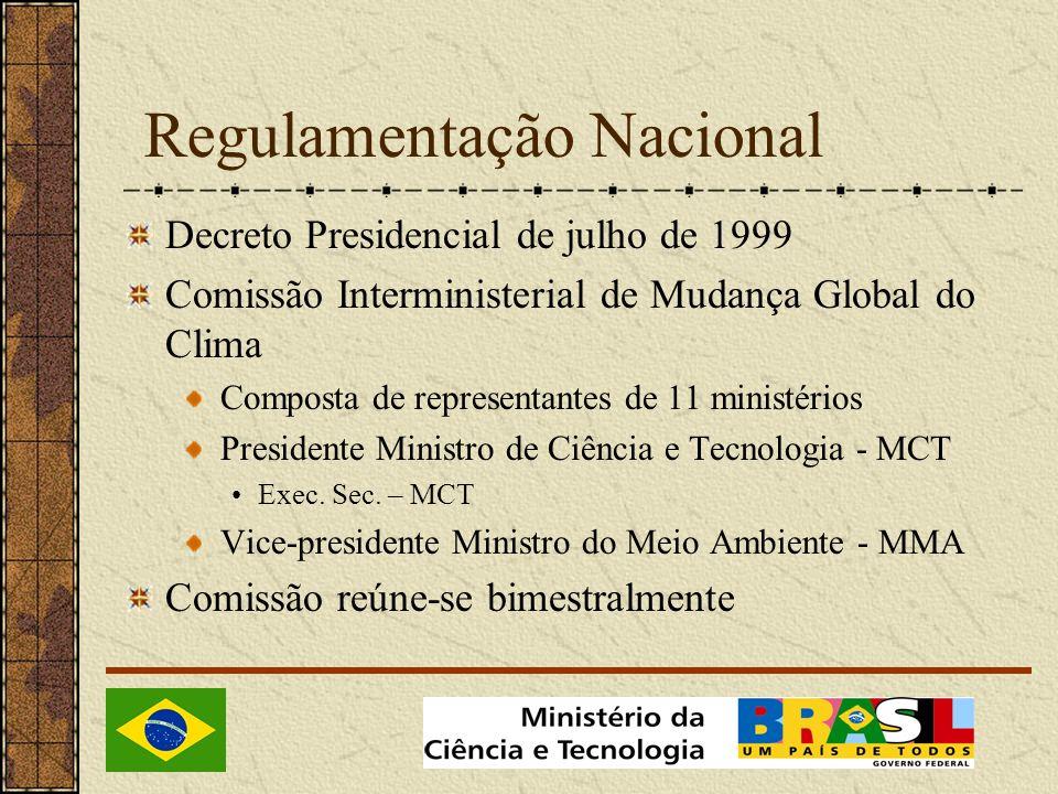 Regulamentação Nacional Decreto Presidencial de julho de 1999 Comissão Interministerial de Mudança Global do Clima Composta de representantes de 11 ministérios Presidente Ministro de Ciência e Tecnologia - MCT Exec.