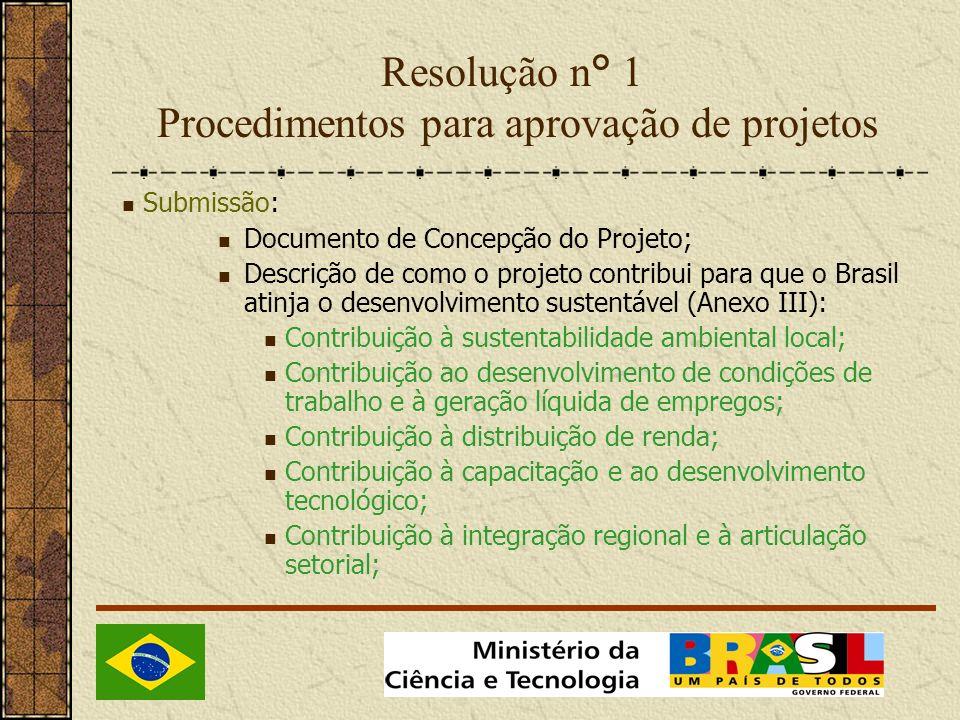 Resolução n° 1 Procedimentos para aprovação de projetos Submissão: Documento de Concepção do Projeto; Descrição de como o projeto contribui para que o Brasil atinja o desenvolvimento sustentável (Anexo III): Contribuição à sustentabilidade ambiental local; Contribuição ao desenvolvimento de condições de trabalho e à geração líquida de empregos; Contribuição à distribuição de renda; Contribuição à capacitação e ao desenvolvimento tecnológico; Contribuição à integração regional e à articulação setorial;