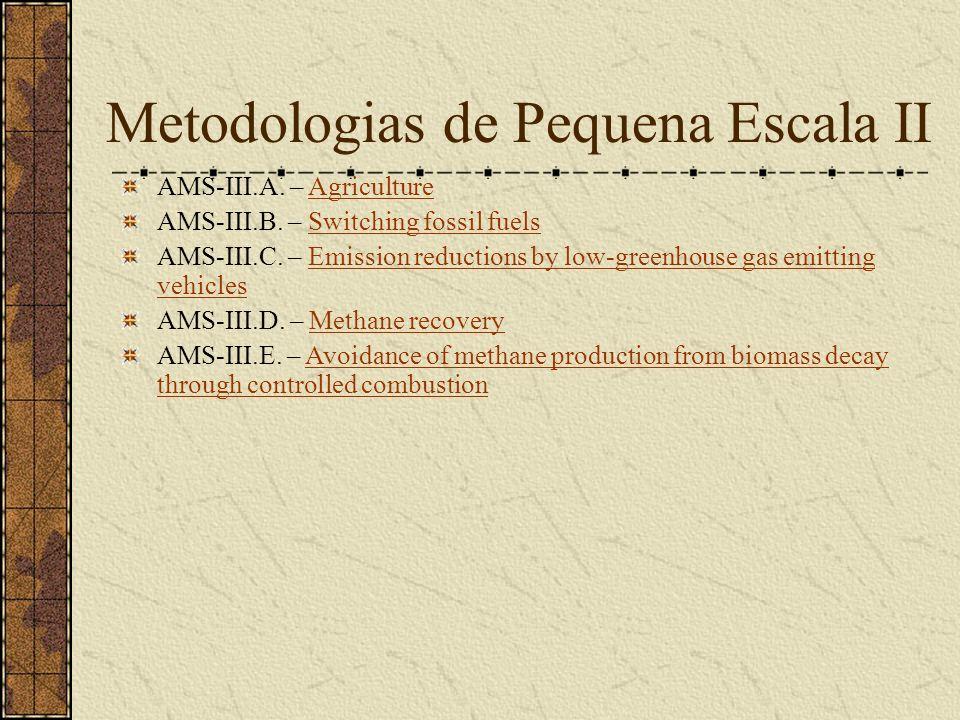 Metodologias de Pequena Escala II AMS-III.A. – AgricultureAgriculture AMS-III.B.