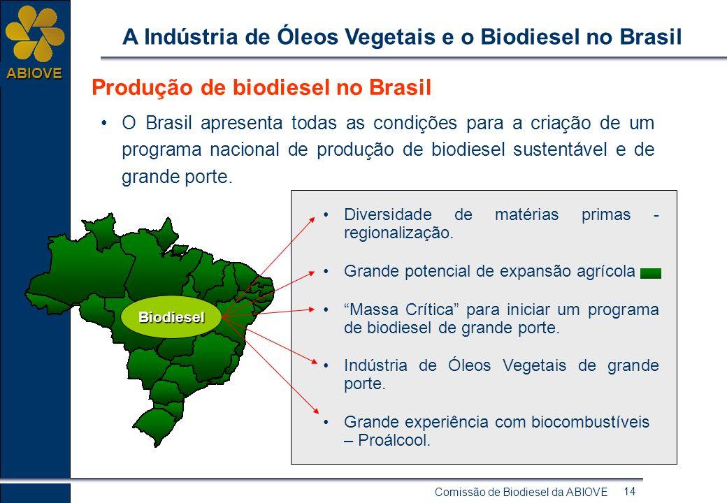 Comissão de Biodiesel da ABIOVE 13 ABIOVE A Indústria de Óleos Vegetais e o Biodiesel no Brasil O DESAFIO DO GOVERNO: Desenvolver um programa de biodi
