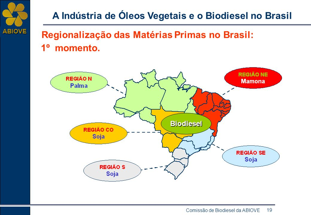 Comissão de Biodiesel da ABIOVE 18 ABIOVE A Indústria de Óleos Vegetais e o Biodiesel no Brasil Indústria de Óleos Vegetais de grande porte A Indústri