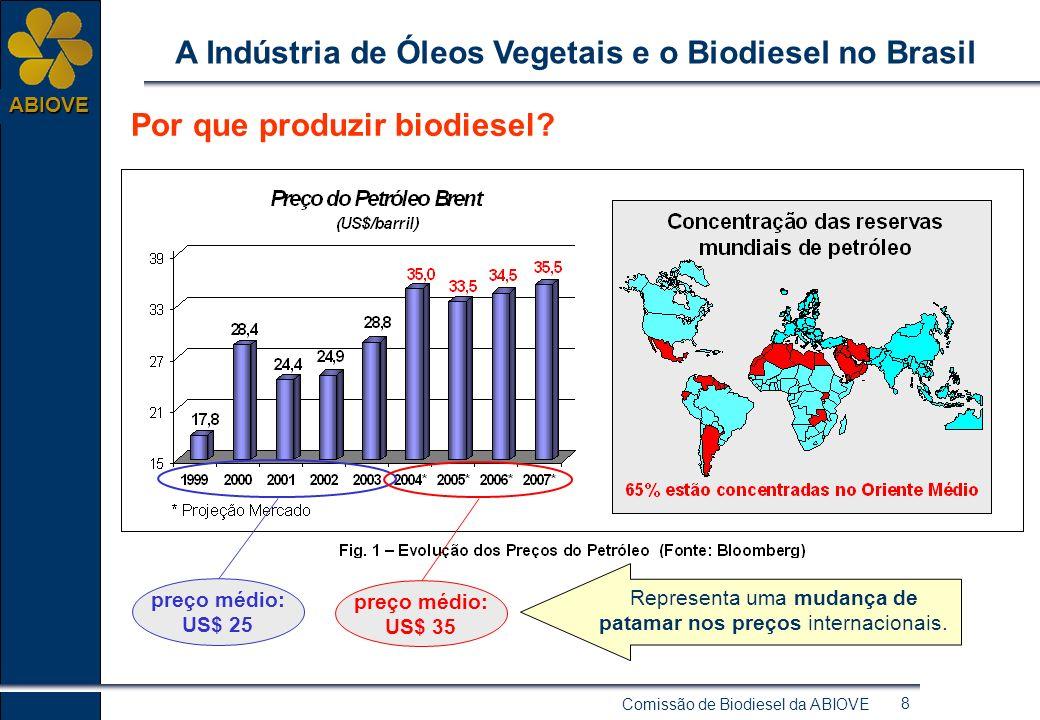 Comissão de Biodiesel da ABIOVE 18 ABIOVE A Indústria de Óleos Vegetais e o Biodiesel no Brasil Indústria de Óleos Vegetais de grande porte A Indústria de Óleos Vegetais brasileira já poderia suportar facilmente um demanda adicional para produção de biodiesel, utilizando parte de sua capacidade ociosa.