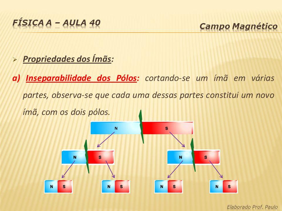Propriedades dos Ímãs: a) Inseparabilidade dos Pólos: cortando-se um ímã em várias partes, observa-se que cada uma dessas partes constitui um novo ímã