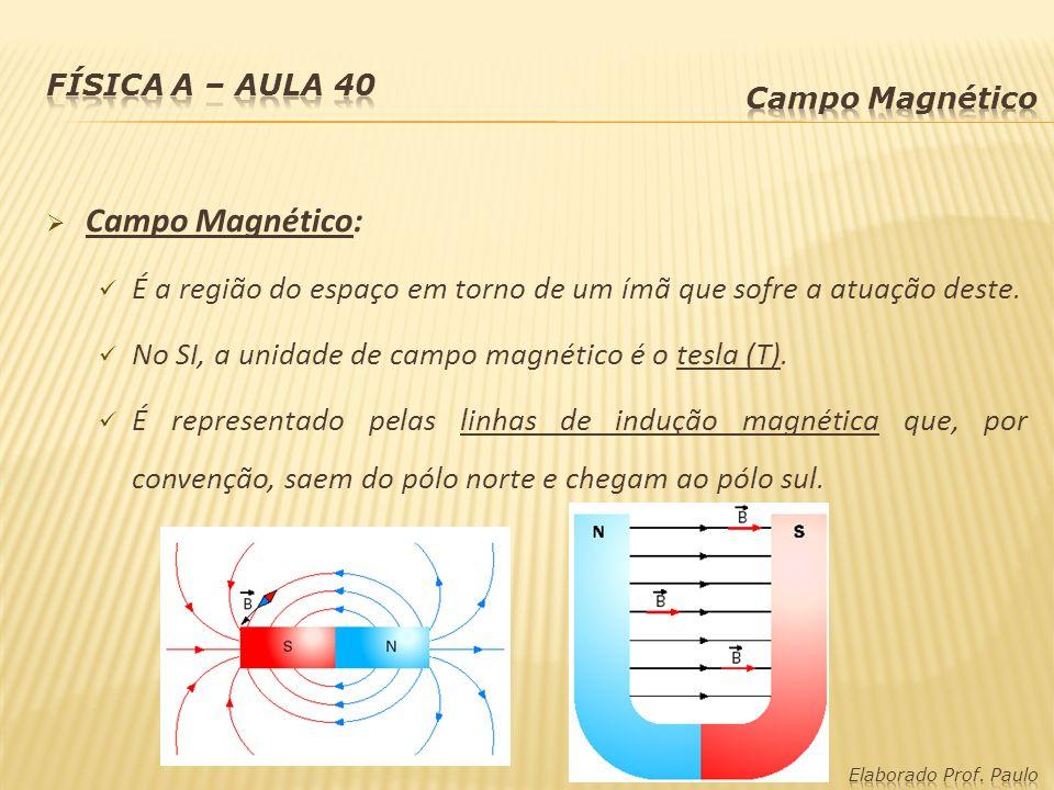 Campo Magnético: É a região do espaço em torno de um ímã que sofre a atuação deste. No SI, a unidade de campo magnético é o tesla (T). É representado