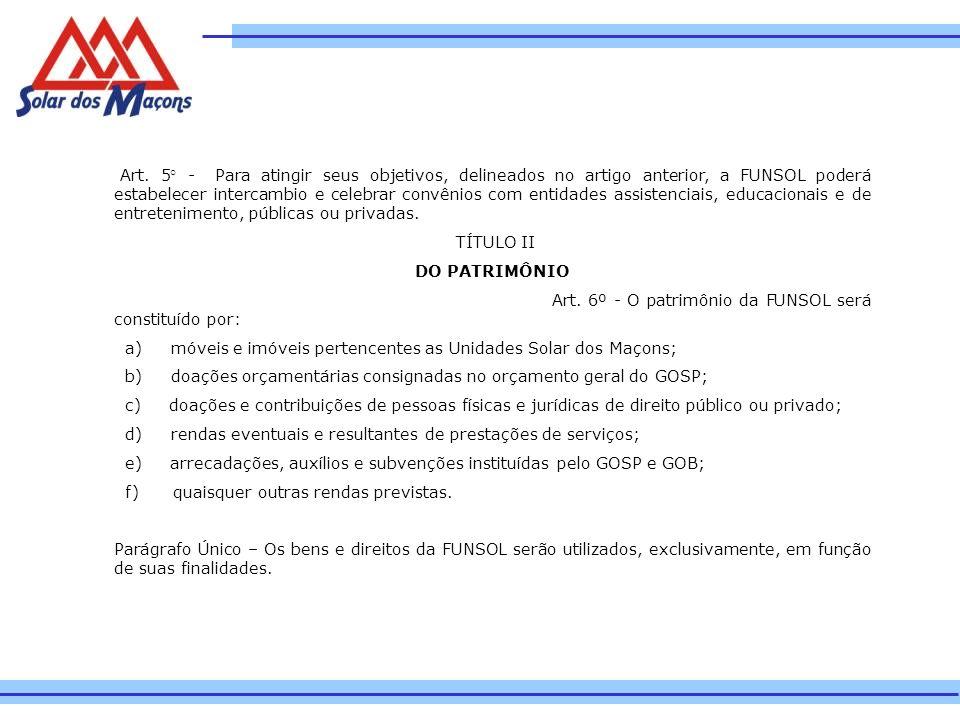 Art. 5° - Para atingir seus objetivos, delineados no artigo anterior, a FUNSOL poderá estabelecer intercambio e celebrar convênios com entidades assis