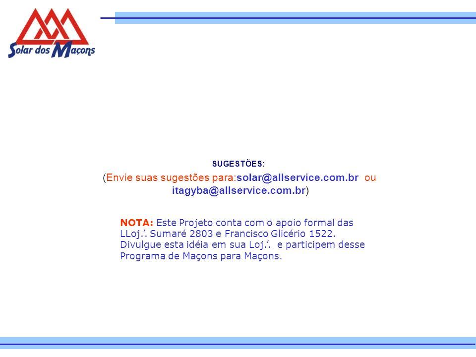 SUGESTÕES: (Envie suas sugestões para:solar@allservice.com.br ou itagyba@allservice.com.br) NOTA: Este Projeto conta com o apoio formal das LLoj.. Sum