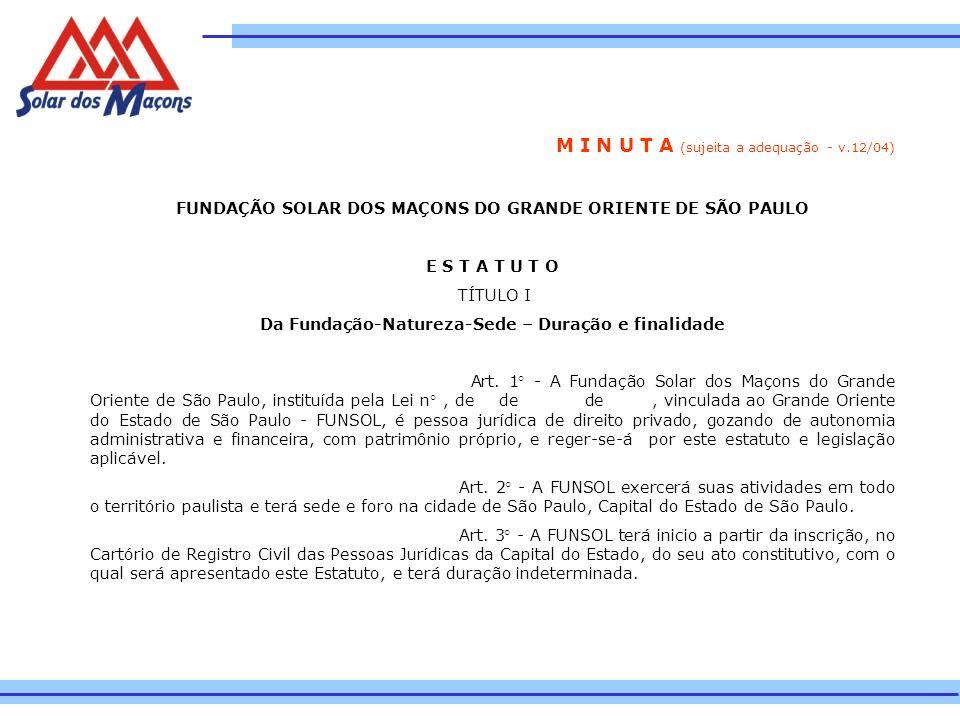 M I N U T A (sujeita a adequação - v.12/04) FUNDAÇÃO SOLAR DOS MAÇONS DO GRANDE ORIENTE DE SÃO PAULO E S T A T U T O TÍTULO I Da Fundação-Natureza-Sed