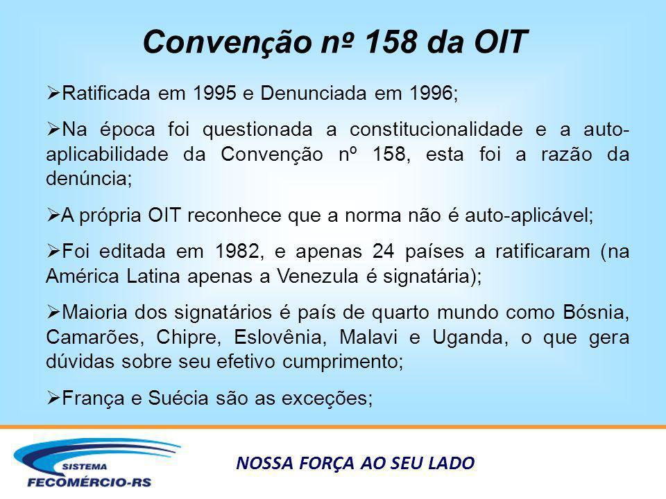 NOSSA FORÇA AO SEU LADO Conven ç ão n º 158 da OIT Ratificada em 1995 e Denunciada em 1996; Na época foi questionada a constitucionalidade e a auto- a