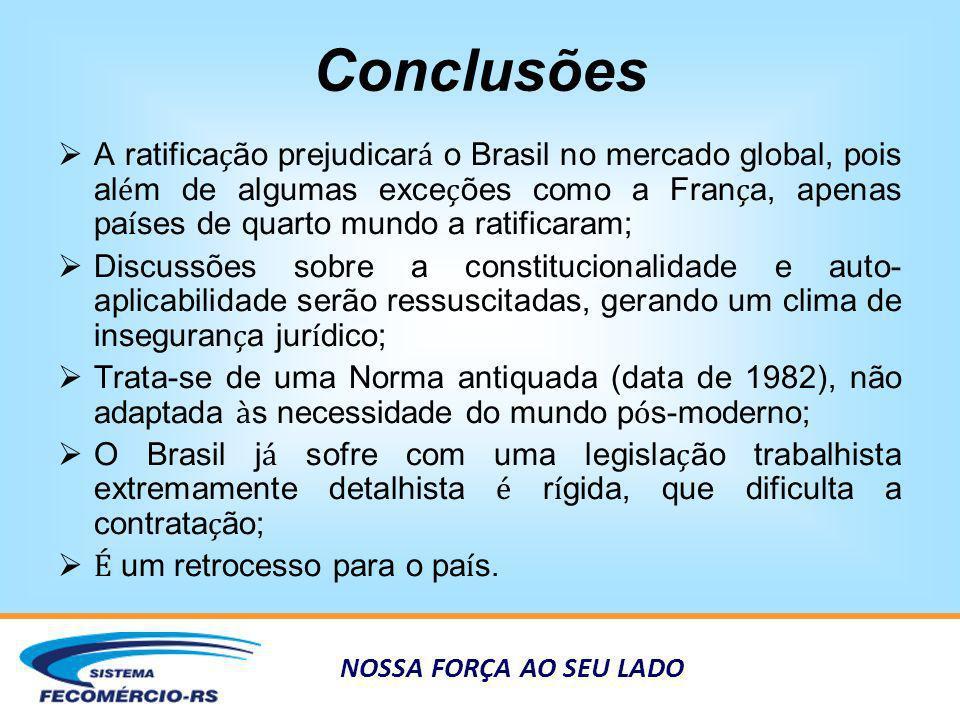 NOSSA FORÇA AO SEU LADO Conclusões A ratifica ç ão prejudicar á o Brasil no mercado global, pois al é m de algumas exce ç ões como a Fran ç a, apenas