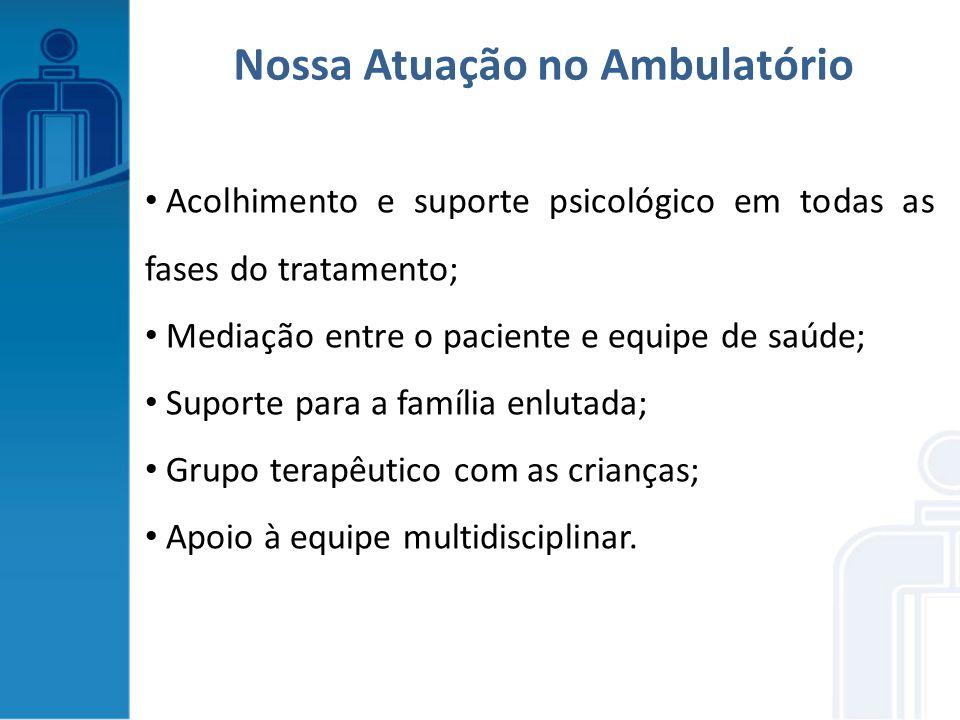 Acolhimento e suporte psicológico em todas as fases do tratamento; Mediação entre o paciente e equipe de saúde; Suporte para a família enlutada; Grupo