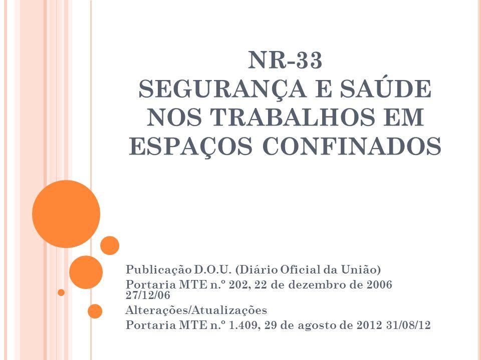 NR-33 SEGURANÇA E SAÚDE NOS TRABALHOS EM ESPAÇOS CONFINADOS Publicação D.O.U. (Diário Oficial da União) Portaria MTE n.º 202, 22 de dezembro de 2006 2