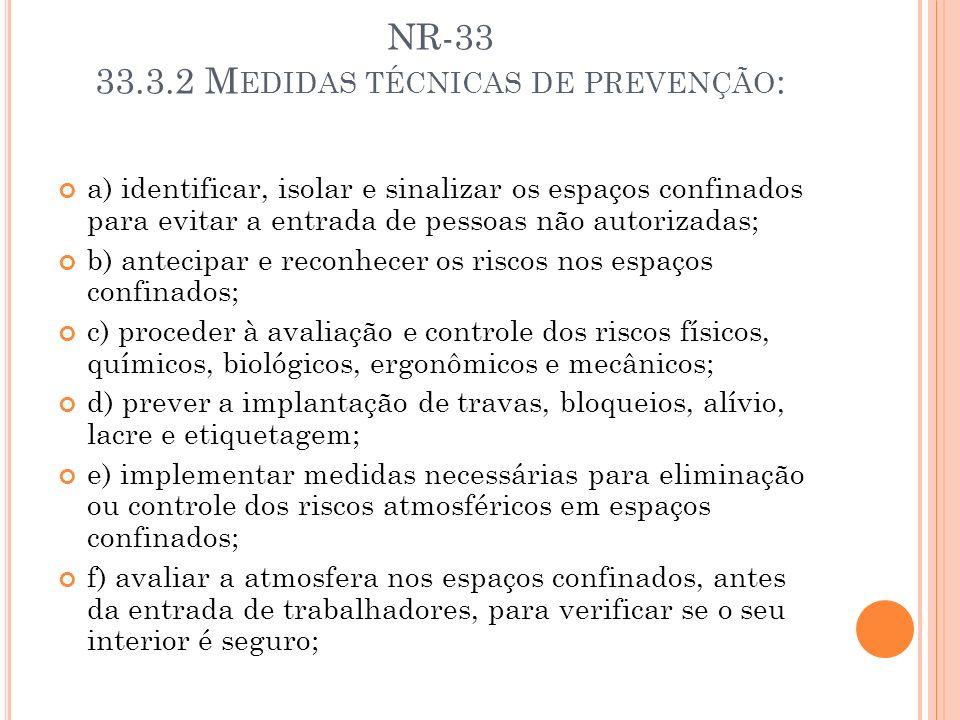 NR-33 33.3.2 M EDIDAS TÉCNICAS DE PREVENÇÃO : a) identificar, isolar e sinalizar os espaços confinados para evitar a entrada de pessoas não autorizada