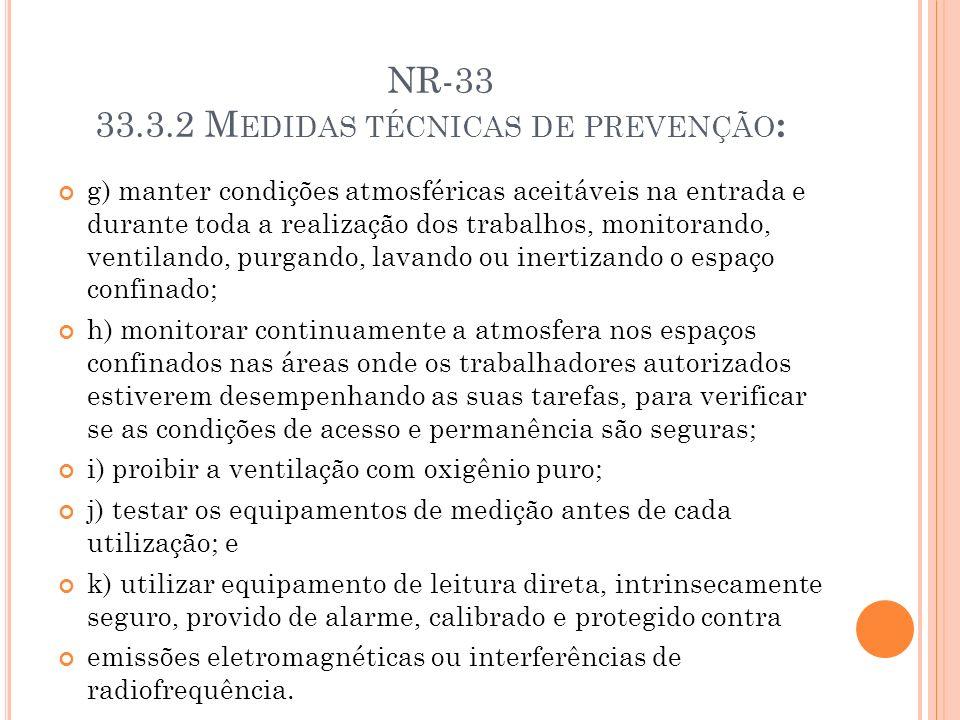 NR-33 33.3.2 M EDIDAS TÉCNICAS DE PREVENÇÃO : g) manter condições atmosféricas aceitáveis na entrada e durante toda a realização dos trabalhos, monito