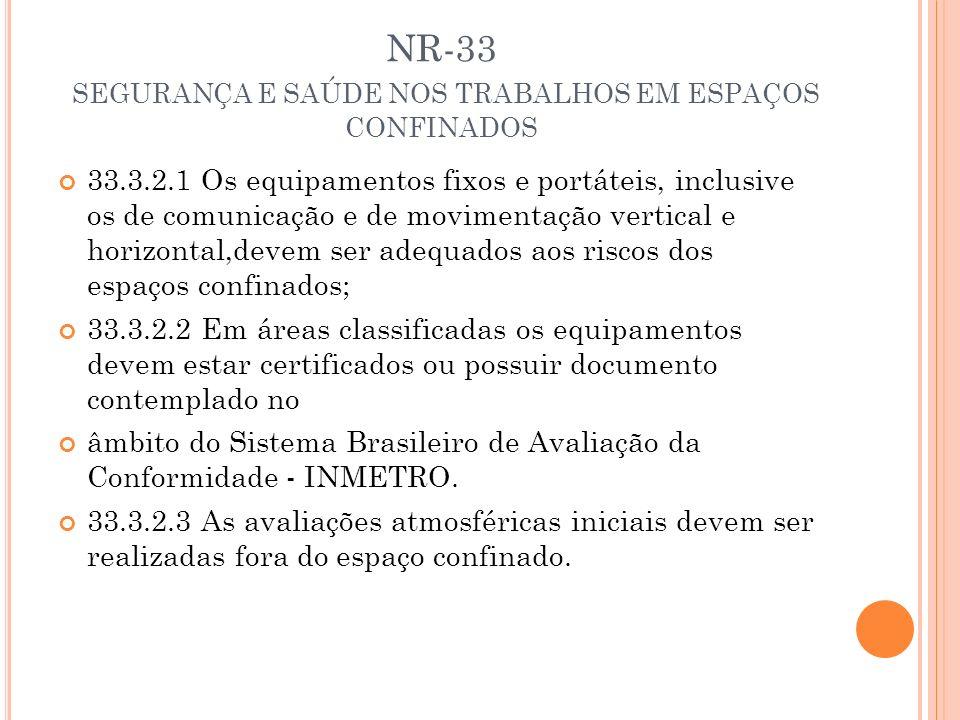 NR-33 SEGURANÇA E SAÚDE NOS TRABALHOS EM ESPAÇOS CONFINADOS 33.3.2.1 Os equipamentos fixos e portáteis, inclusive os de comunicação e de movimentação