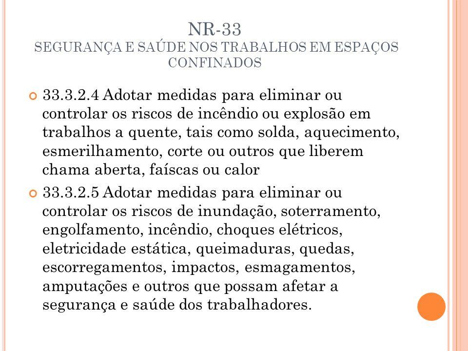 NR-33 SEGURANÇA E SAÚDE NOS TRABALHOS EM ESPAÇOS CONFINADOS 33.3.2.4 Adotar medidas para eliminar ou controlar os riscos de incêndio ou explosão em tr