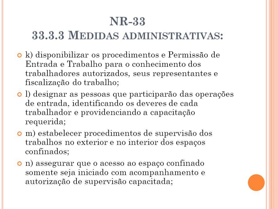 NR-33 33.3.3 M EDIDAS ADMINISTRATIVAS : k) disponibilizar os procedimentos e Permissão de Entrada e Trabalho para o conhecimento dos trabalhadores aut