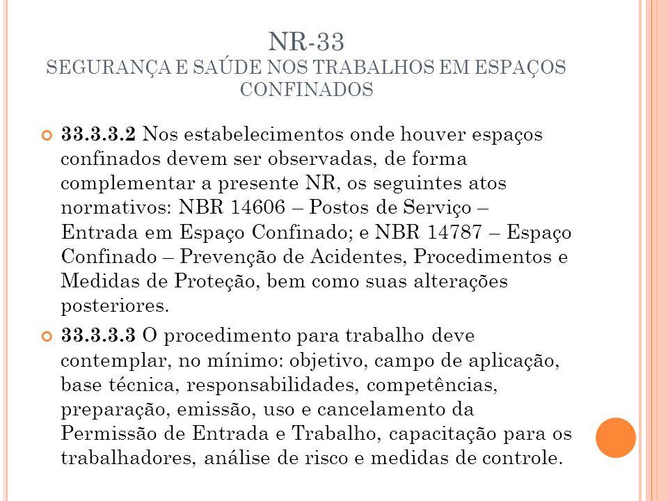 NR-33 SEGURANÇA E SAÚDE NOS TRABALHOS EM ESPAÇOS CONFINADOS 33.3.3.2 Nos estabelecimentos onde houver espaços confinados devem ser observadas, de form