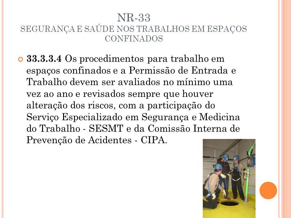 NR-33 SEGURANÇA E SAÚDE NOS TRABALHOS EM ESPAÇOS CONFINADOS 33.3.3.4 Os procedimentos para trabalho em espaços confinados e a Permissão de Entrada e T
