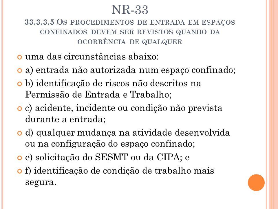 NR-33 33.3.3.5 O S PROCEDIMENTOS DE ENTRADA EM ESPAÇOS CONFINADOS DEVEM SER REVISTOS QUANDO DA OCORRÊNCIA DE QUALQUER uma das circunstâncias abaixo: a