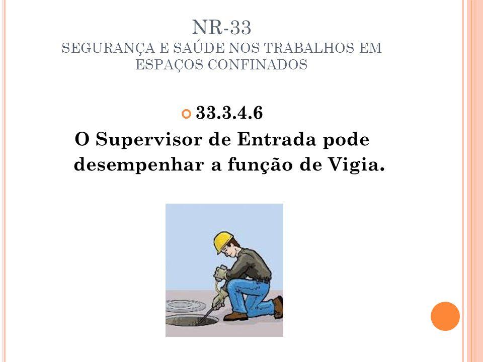NR-33 SEGURANÇA E SAÚDE NOS TRABALHOS EM ESPAÇOS CONFINADOS 33.3.4.6 O Supervisor de Entrada pode desempenhar a função de Vigia.