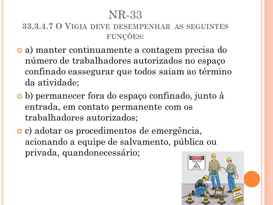 NR-33 33.3.4.7 O V IGIA DEVE DESEMPENHAR AS SEGUINTES FUNÇÕES : a) manter continuamente a contagem precisa do número de trabalhadores autorizados no e
