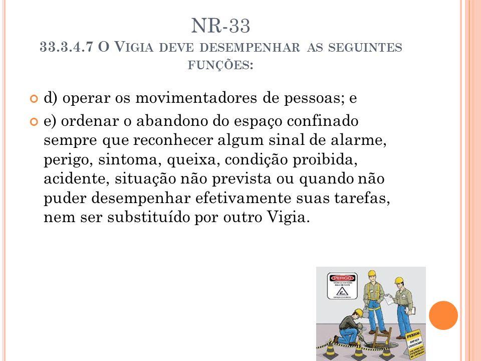 NR-33 33.3.4.7 O V IGIA DEVE DESEMPENHAR AS SEGUINTES FUNÇÕES : d) operar os movimentadores de pessoas; e e) ordenar o abandono do espaço confinado se