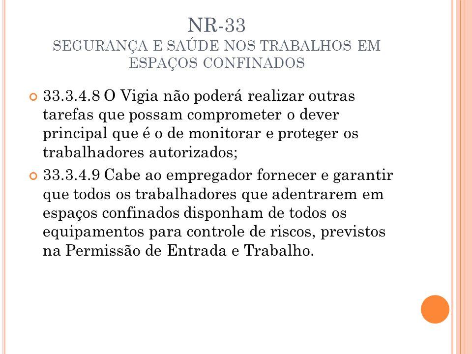 NR-33 SEGURANÇA E SAÚDE NOS TRABALHOS EM ESPAÇOS CONFINADOS 33.3.4.8 O Vigia não poderá realizar outras tarefas que possam comprometer o dever princip