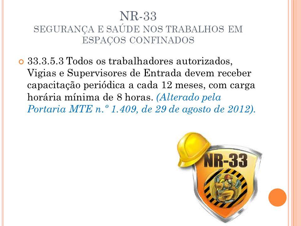 NR-33 SEGURANÇA E SAÚDE NOS TRABALHOS EM ESPAÇOS CONFINADOS 33.3.5.3 Todos os trabalhadores autorizados, Vigias e Supervisores de Entrada devem recebe