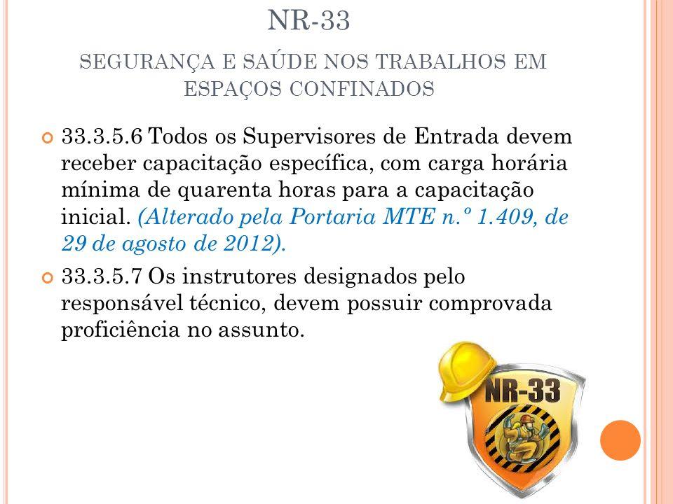 NR-33 SEGURANÇA E SAÚDE NOS TRABALHOS EM ESPAÇOS CONFINADOS 33.3.5.6 Todos os Supervisores de Entrada devem receber capacitação específica, com carga