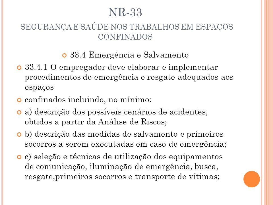 NR-33 SEGURANÇA E SAÚDE NOS TRABALHOS EM ESPAÇOS CONFINADOS 33.4 Emergência e Salvamento 33.4.1 O empregador deve elaborar e implementar procedimentos
