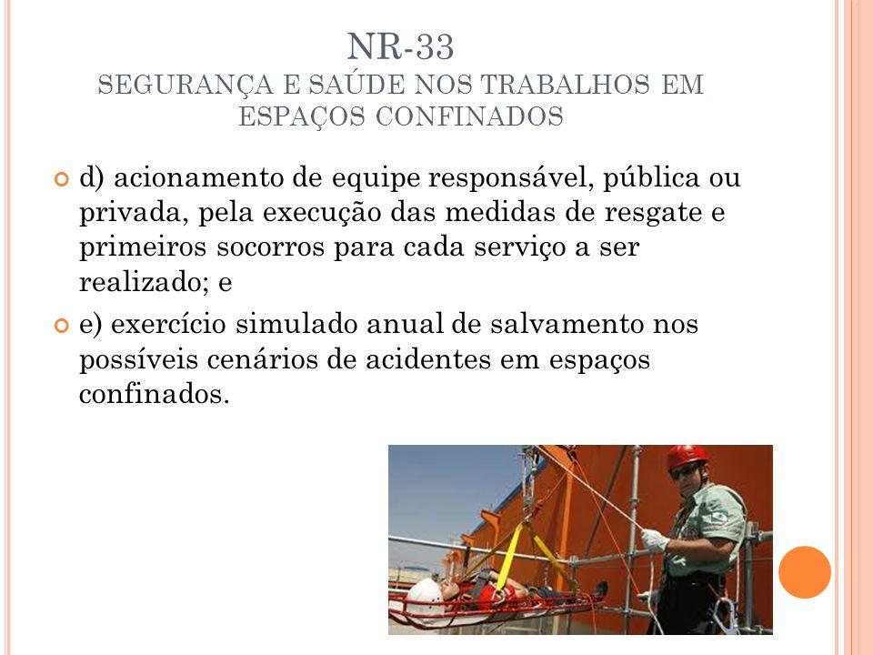 NR-33 SEGURANÇA E SAÚDE NOS TRABALHOS EM ESPAÇOS CONFINADOS d) acionamento de equipe responsável, pública ou privada, pela execução das medidas de res