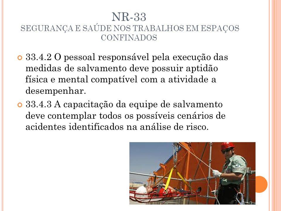 NR-33 SEGURANÇA E SAÚDE NOS TRABALHOS EM ESPAÇOS CONFINADOS 33.4.2 O pessoal responsável pela execução das medidas de salvamento deve possuir aptidão