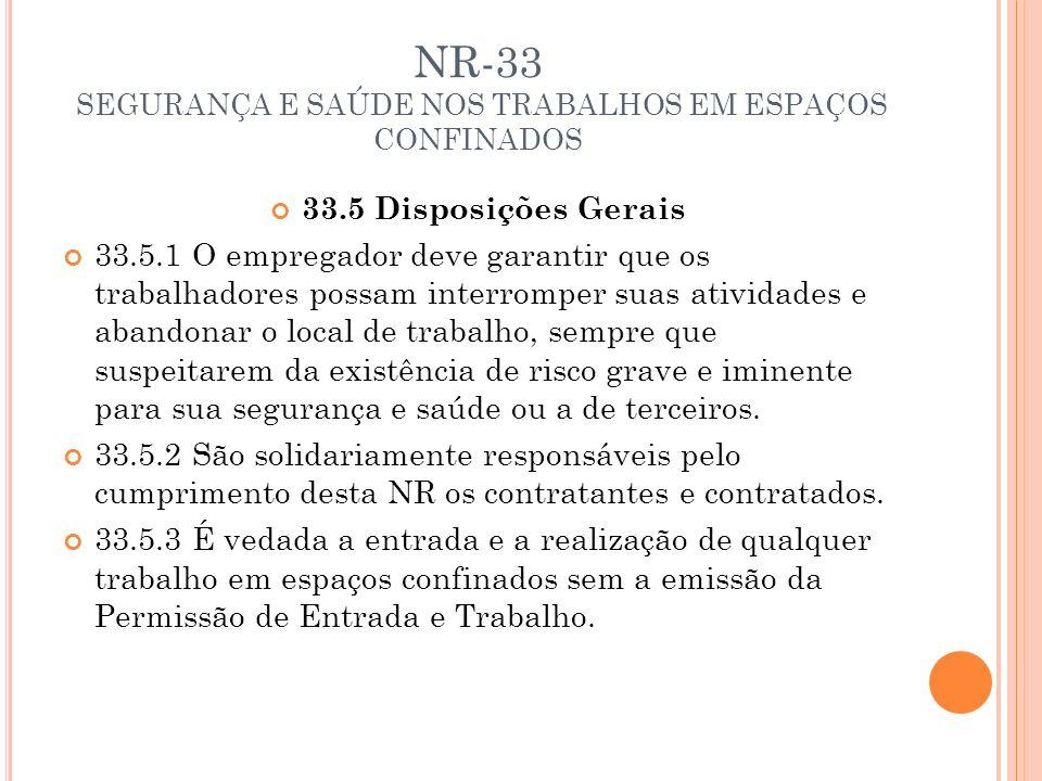 NR-33 SEGURANÇA E SAÚDE NOS TRABALHOS EM ESPAÇOS CONFINADOS 33.5 Disposições Gerais 33.5.1 O empregador deve garantir que os trabalhadores possam inte