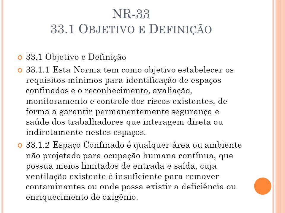 NR-33 33.1 O BJETIVO E D EFINIÇÃO 33.1 Objetivo e Definição 33.1.1 Esta Norma tem como objetivo estabelecer os requisitos mínimos para identificação d