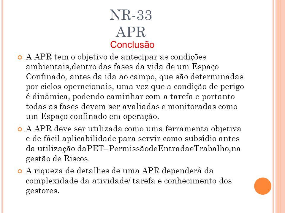NR-33 APR A APR tem o objetivo de antecipar as condições ambientais,dentro das fases da vida de um Espaço Confinado, antes da ida ao campo, que são de