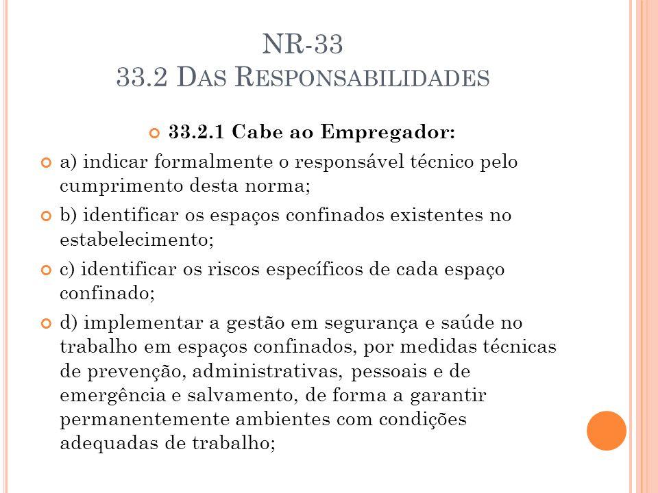 NR-33 33.2 D AS R ESPONSABILIDADES 33.2.1 Cabe ao Empregador: a) indicar formalmente o responsável técnico pelo cumprimento desta norma; b) identifica