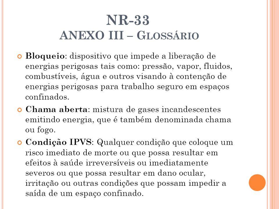 NR-33 ANEXO III – G LOSSÁRIO Bloqueio : dispositivo que impede a liberação de energias perigosas tais como: pressão, vapor, fluidos, combustíveis, águ