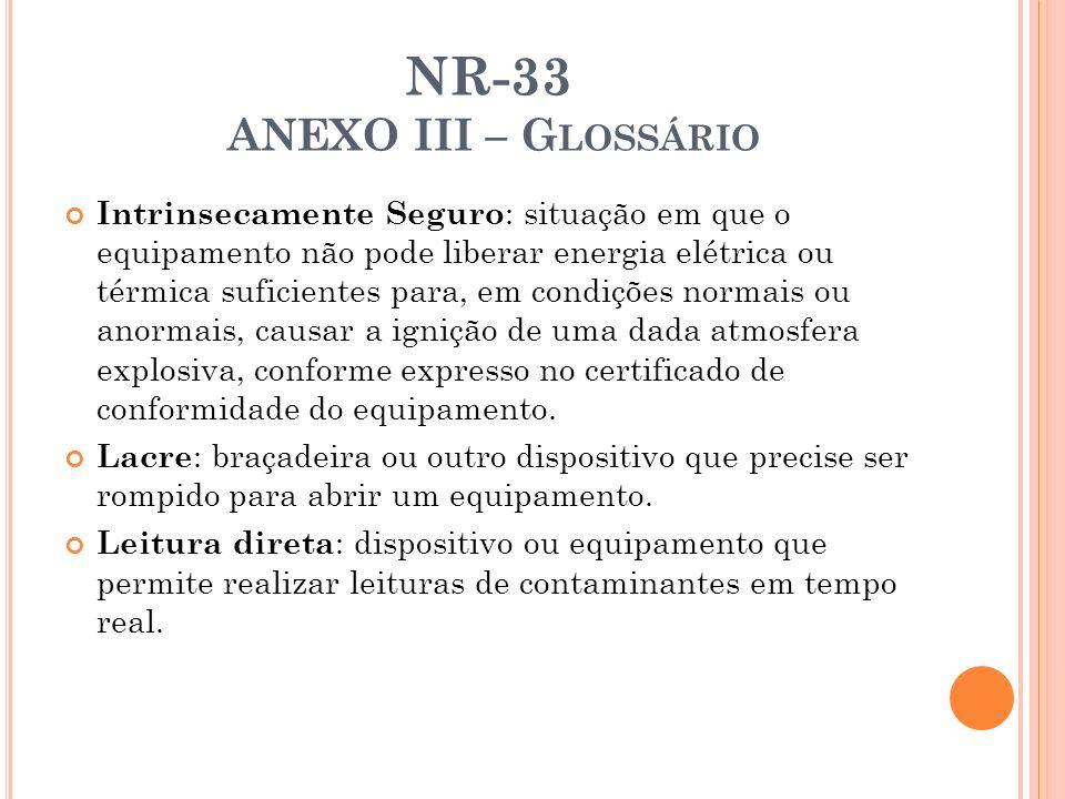 NR-33 ANEXO III – G LOSSÁRIO Intrinsecamente Seguro : situação em que o equipamento não pode liberar energia elétrica ou térmica suficientes para, em